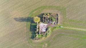 Drone aerial photo of an abandoned farm in the uk