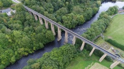 via duct, wales, drone photography, water, bridge, An overview of Pontcysyllte Aqueduct