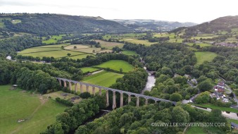 Pontcysyllte Aqueduct from the air water, bridges, aqueduct, green, landscape