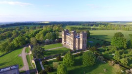 An aerial photo of Hardwick Hall in Derbyshire drone photography, summer time