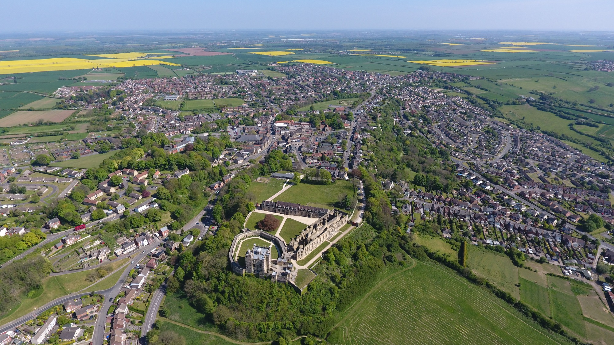 An aerial photo of Bolsover Castle
