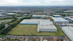 Drone photography, aerial photography, warehouses from above, capturing context scale for commercial brochures