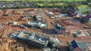 Drones, on constructions site, aerial photography, aerial filming, over head view, consruction